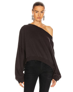Off Shoulder Patti Sweatshirt in Black