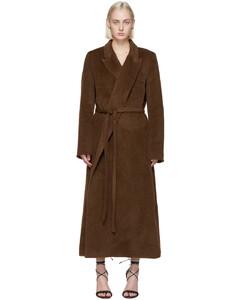 棕色羊驼毛裹身大衣