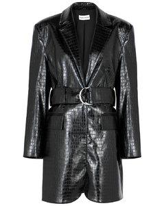 Piper black faux leather mini dress