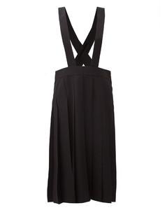 Pleated wool-gabardine dungaree skirt