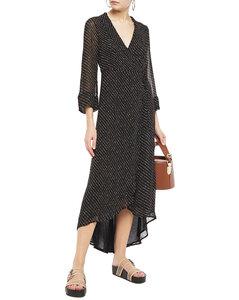 Woman Mullin Asymmetric Printed Georgette Midi Wrap Dress