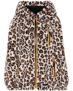 Leopard print fleece hoodie