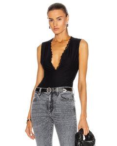 Margo Lace Trim Deep V Bodysuit in Black