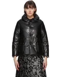黑色合成皮革填充夹克