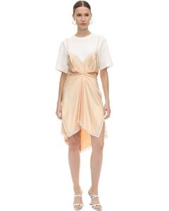 Slit Cotton & Satin Mini Dress