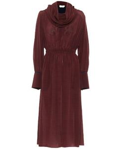 Checked silk maxi dress