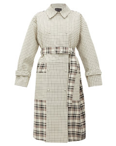 Double-breasted checked twill trench coat