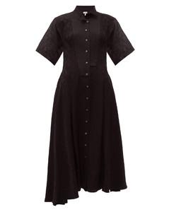 Feather-jacquard asymmetric satin midi dress