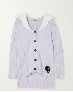 Poplin-trimmed Jacquard-knit Cotton-blend Cardigan