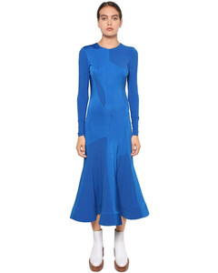 Satin Bonded Viscose Jersey Midi Dress