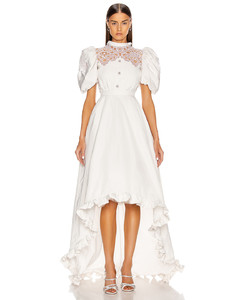 High Neck Dress With Statement Sleeves in White
