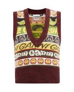 Logo-stripe sleeveless recycled wool-blend sweater