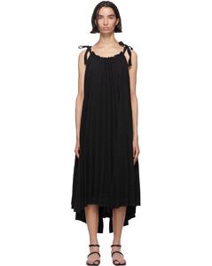 黑色Panorama壓褶連衣裙