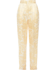 Woman Polino Linen And Silk-blend Satin-jacquard Tapered Pants