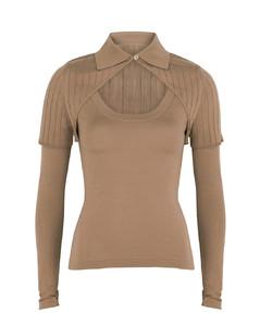 La Maille Albi brown wool-blend top