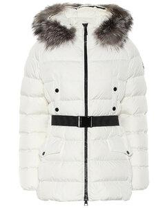 Clion绗缝毛皮边饰羽绒大衣
