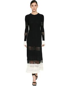 Ribbed Ottoman Viscose Sheer Midi Dress