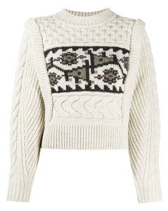 cropped intarsia cable knit jumper