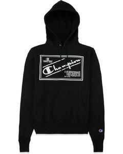 Reverse Weave Label Hoodie - Black