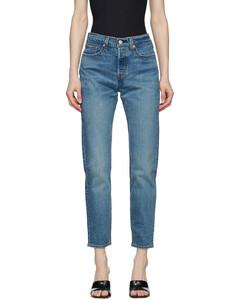 蓝色Wedgie Fit Ankle牛仔裤