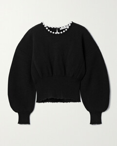 Faux Pearl-embellished Distressed Wool-blend Sweater