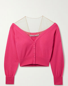 Cropped Mesh-trimmed Wool-blend Cardigan