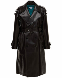 Double Breast Leather Trench Coat