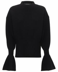 喇叭袖羊毛混纺针织毛衣