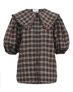 Ruffle-collar check cotton-blend seersucker blouse