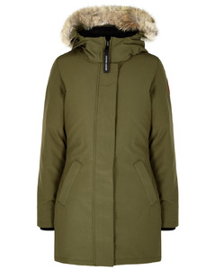 Victoria army green fur-trimmed parka
