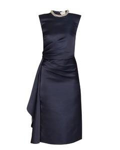 Crystal-embellished ruched silk knee-length dress