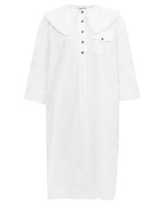 Ruffled-collar organic-cotton poplin shirt dress