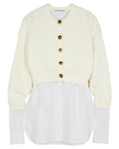 Cream layered cable-knit cardigan