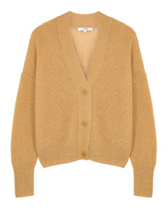 Camel ribbed-knit cardigan