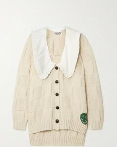 Ruffled Poplin-trimmed Intarsia Cotton Cardigan