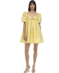 Cotton Blend Gingham Mini Dress