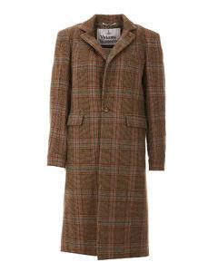 Collared asymmetric-hem wool coat