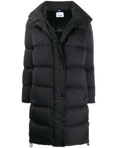 Black Detachable Hood Monogram Puffer Coat