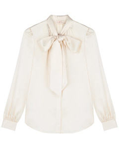 Ivory silk-satin blouse