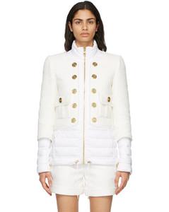 白色Bi-Material羽绒夹克