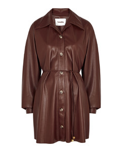 Joy burgundy faux leather shirt dress