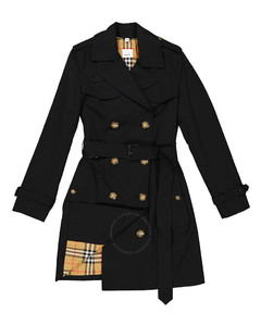 Ladies Black Double-breasted Belted Trench Coat