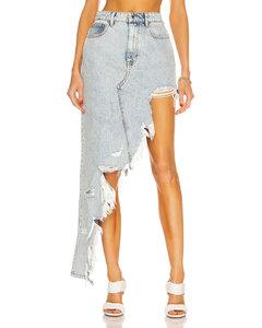 Asymmetric Fray Denim Skirt in Denim-Light
