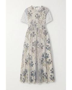 亮片金蔥絹網花卉印花雙縐中長連衣裙