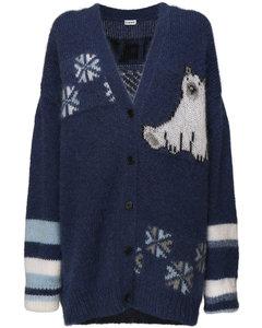 Oversize Knit Mohair Blend Cardigan