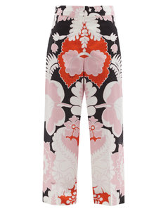 High-rise Arazzo-print cotton-poplin trousers