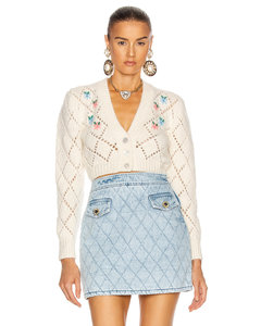 Wool Cardigan with Floral Details in Floral,White