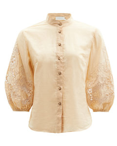 Brighton broderie-anglaise cotton-voile blouse