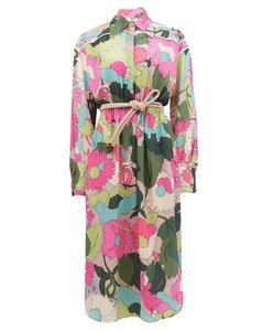 Windflower floral-print crinckled silk shirt dress