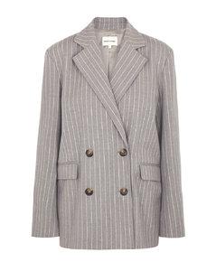 Ficaja grey pinstriped double-breasted blazer